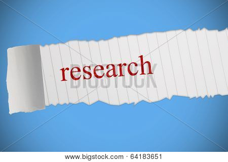 The word research against blue background with vignette poster