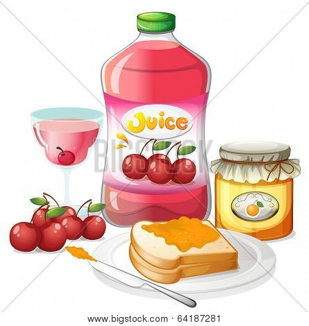 Illustration of the uses of cherries and oranges on a white background