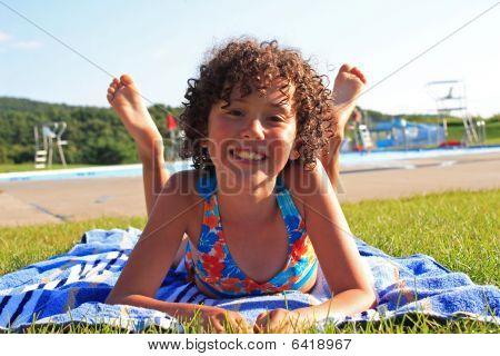Teen Girl Near Swimming Pool