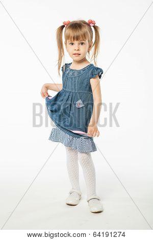 Cute Blonde Girl In Blue Dress