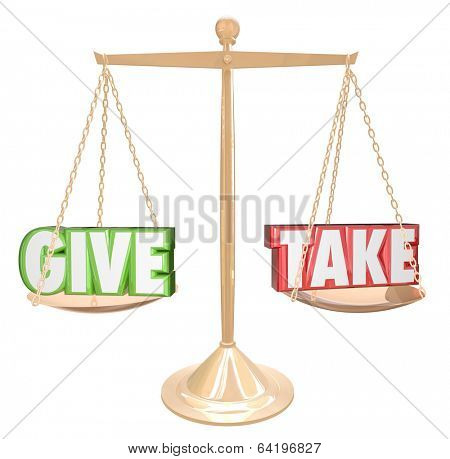 Give and Take Words Gold Scale Balance Generous Sharing