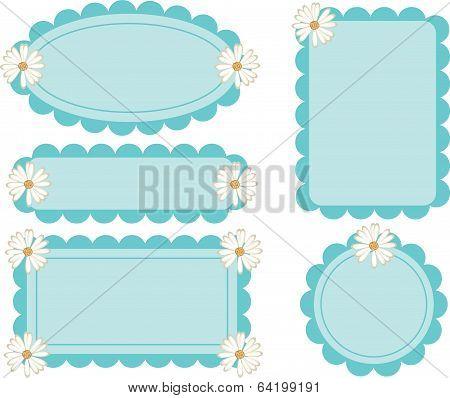 Daisy Flower Retro Scalloped Frames