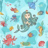 Seamless pattern with mermaid princess. Vector cartoon illustration. poster