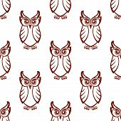 Seamless brown and white background pattern of a wise old owl with big eyes in square format suitable for wallpaper or fabric design poster