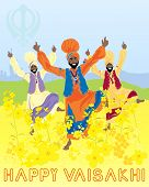 an illustration of three punjabi men dancing to celebrate the harvest festival of vaisakhi with mustard flowers and sikh emblem under a blue sky poster