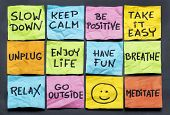 slow down, relax, take it easy, keep calm and other motivational  lifestyle reminders on colorful sticky notes poster