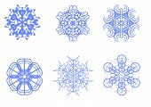 Vector picture of blue snowflakes on a white background poster