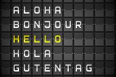Hello in languages on digitally generated black mechanical board poster