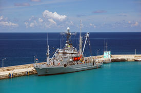 American Military Ship In The Caribbean Water