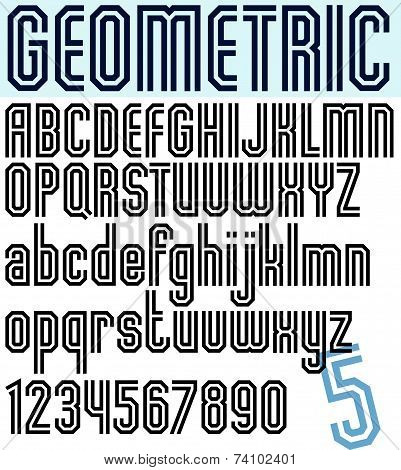 Poster light striped font, uppercase letters on white background.