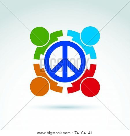 Round antiwar vector icon, no war symbol. People of all nationalities of the world cooperating for peace. Conceptual  international peace sign from 60s. poster