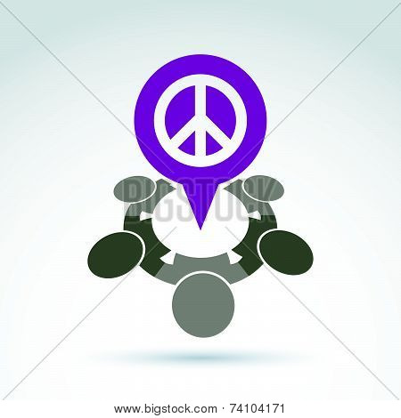People chat on harmony idea.  Conceptual  antiwar sign from 60th, hippy icon.  Speech bubble