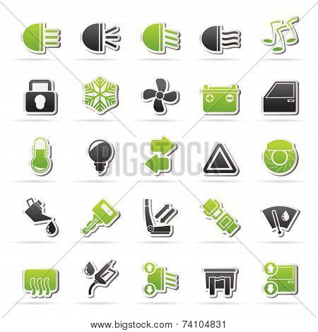Car interface sign and icons - vector icon set poster