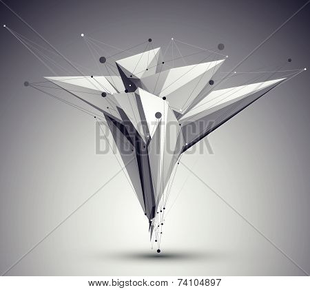 3D mesh modern style abstract background, origami futuristic template with lines mesh. poster