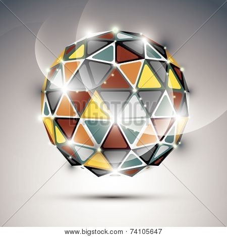 Abstract 3D vivid gala sphere with gemstone effect