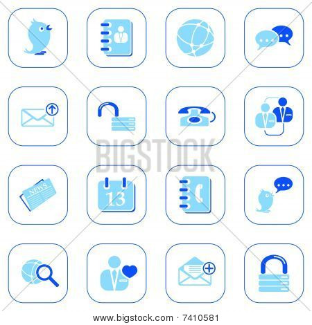 Social media & blog icons - blue series