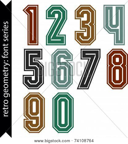 Colorful regular acute-angled digits, bright vector poster numbers with outline isolated on white ba
