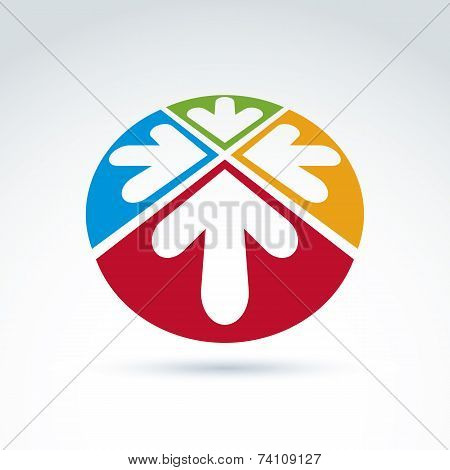 3D Abstract Emblem With Four Multidirectional Arrows Placed In Sectors - Up, Down, Left, Right.