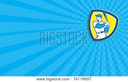 Business Card Baseball Batter Hitter Bat Shield Retro