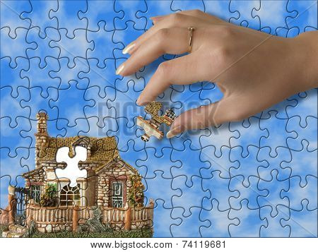 Build the house - hand bring piece of house (puzzle)