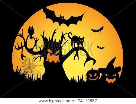 Full Moon Halloween Night - Illustration