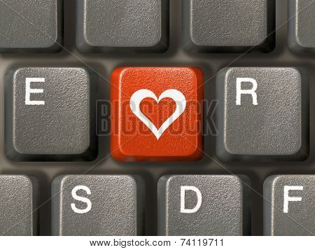 Keyboard (closeup), red key with heart ( love, valentine's day )
