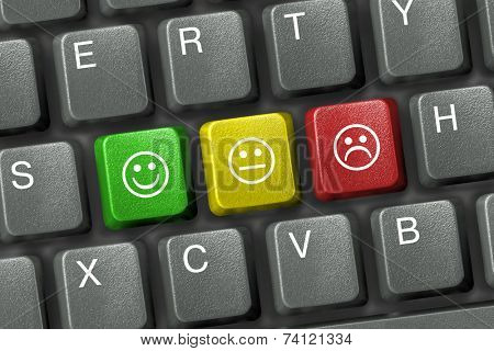 Keyboard close-up with three smiley keys (emoticons)