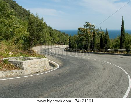 crook of road to sea