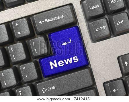 Computer keyboard -  key News, conceptual technology background