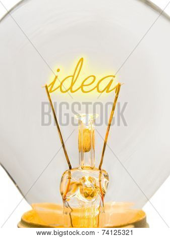 Word Idea in lamp, technology concept