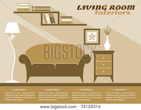 Living room interior flat style