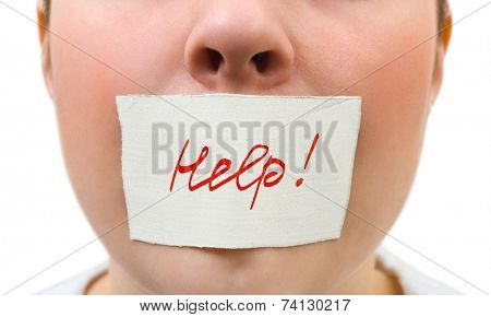 Tape over mouth isolated on white background
