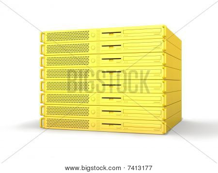 3D rendered Illustration. Isolated on white. 19inch Server Stack. poster
