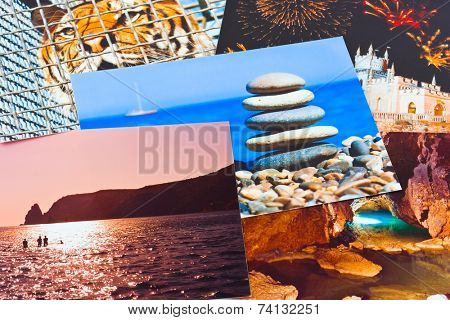 Heap of photo printouts (my photos) - abstract background