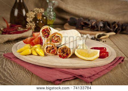 Beef meat Tantuni is a kind of traditional turkish kebap durum lavash