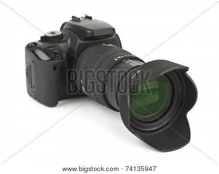 Photo camera and blind isolated on white background