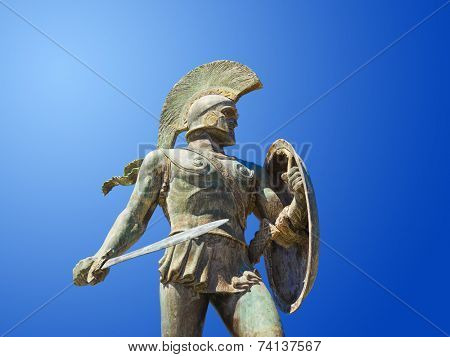Statue of king Leonidas in Sparta, Greece - history background poster