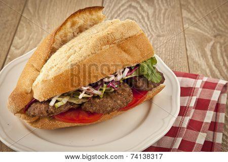 Delicious Turkish Kofte Sandwich (meatballs)
