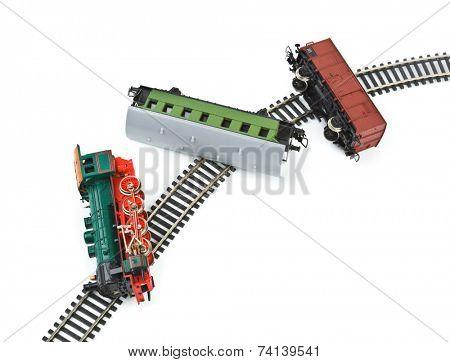 Crash toy train isolated on white background