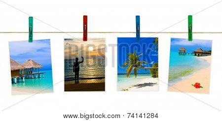 Nature photography on clothespins isolated on white background
