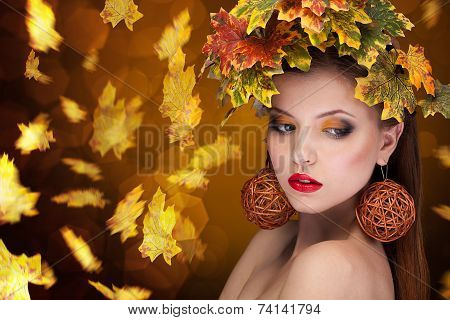 Gorgeous Sensual Girl Autumn Concept