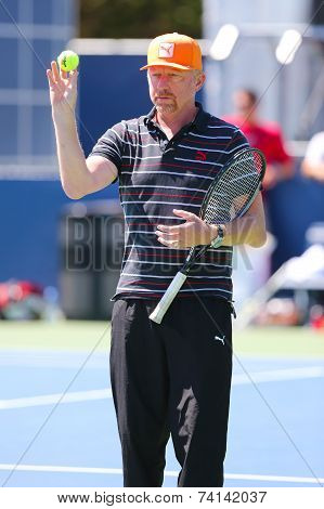 Six times Grand Slam champion Boris Becker coaching Novak Djokovic for US Open 2014