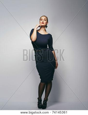 Beautiful Plus Size Secretary In Sexy Dress