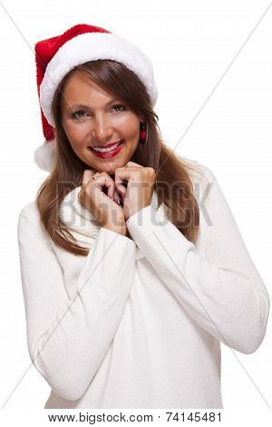 Attractive Woman Wearing A Festive Red Santa Hat