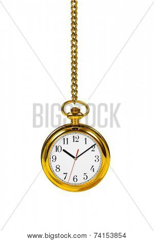 Retro watch and chain isolated on white background
