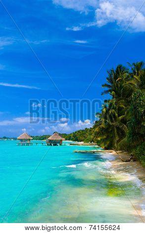 Spa salon on beach of tropical island - healthcare background