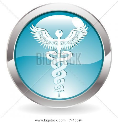 Gloss Button with Medical sign