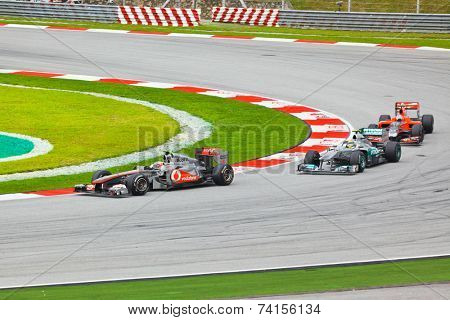 SEPANG, MALAYSIA - APRIL 10: Cars on track at race of Formula 1 GP, April 10, 2011, Sepang, Malaysia