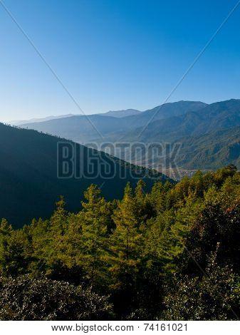 Beautiful View Over The Upper Paro Valley (bhutan) During Sunrise