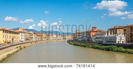 View At Embankment Arno River In Pisa